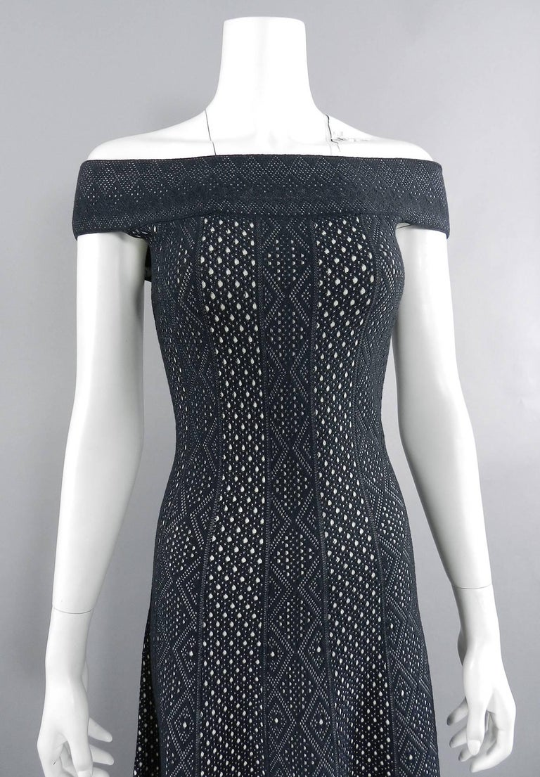 Alexander McQueen Black Lace Jacquard Knit Off Shoulder Dress For Sale 4