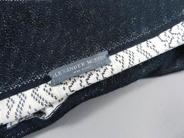 Alexander McQueen Black Lace Jacquard Knit Off Shoulder Dress For Sale 6