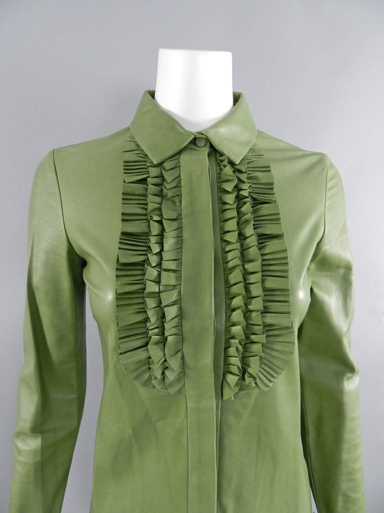 Gray Gucci Spring 2014 Runway Green Leather Ruffle Shirt  For Sale