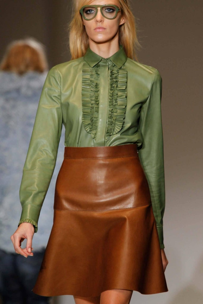 Gucci Spring 2014 Runway Green Leather Ruffle Shirt  In Excellent Condition For Sale In Toronto, CA