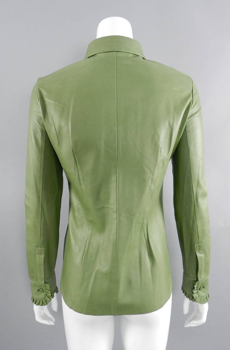 Women's Gucci Spring 2014 Runway Green Leather Ruffle Shirt  For Sale