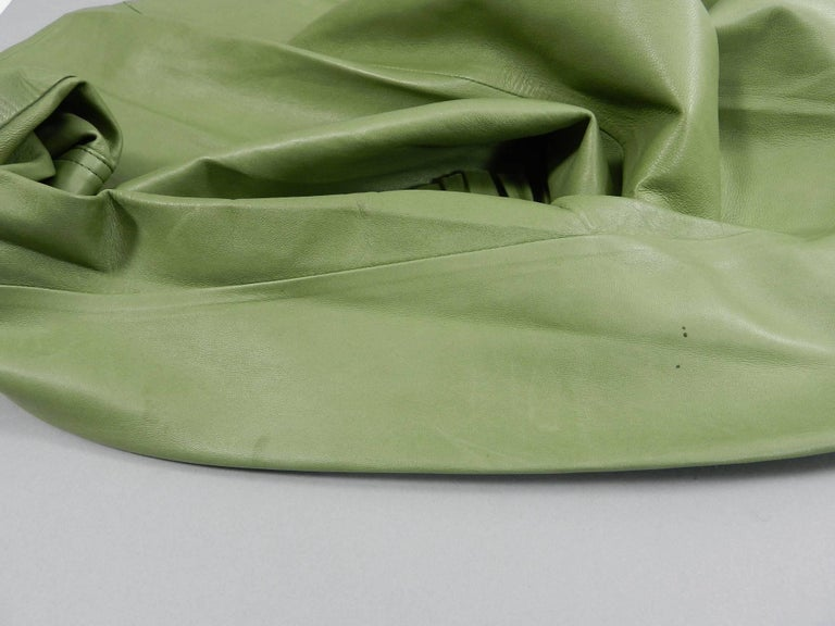 Gucci Spring 2014 Runway Green Leather Ruffle Shirt  For Sale 3