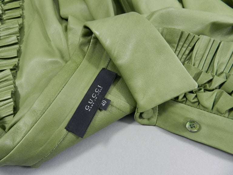 Gucci Spring 2014 Runway Green Leather Ruffle Shirt  For Sale 4