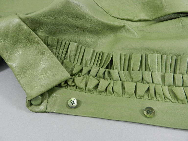 Gucci Spring 2014 Runway Green Leather Ruffle Shirt  For Sale 5