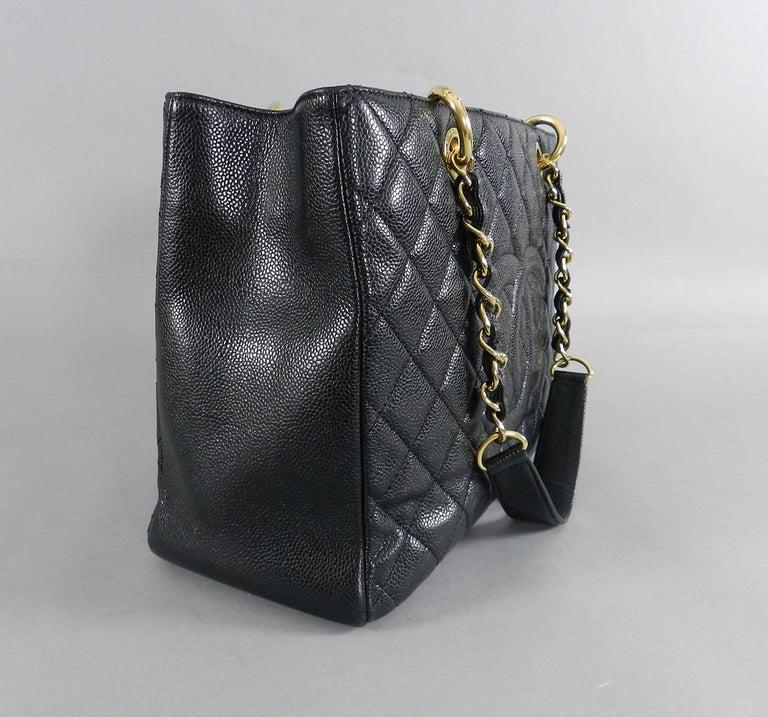 14ea4353acb9e1 Chanel Black Caviar GST Grand Shopping Tote Bag GHW For Sale 2
