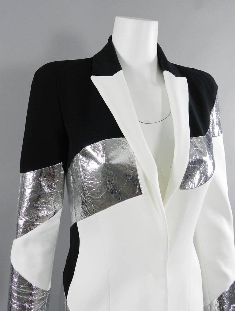 Gray Mugler Resort 2017 Black White Silver Metallic Leather Color Block Jacket For Sale