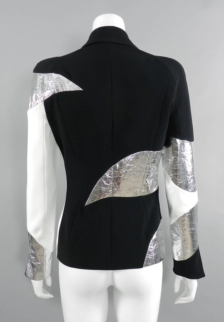 Mugler Resort 2017 Black White Silver Metallic Leather Color Block Jacket In Excellent Condition For Sale In Toronto, ON
