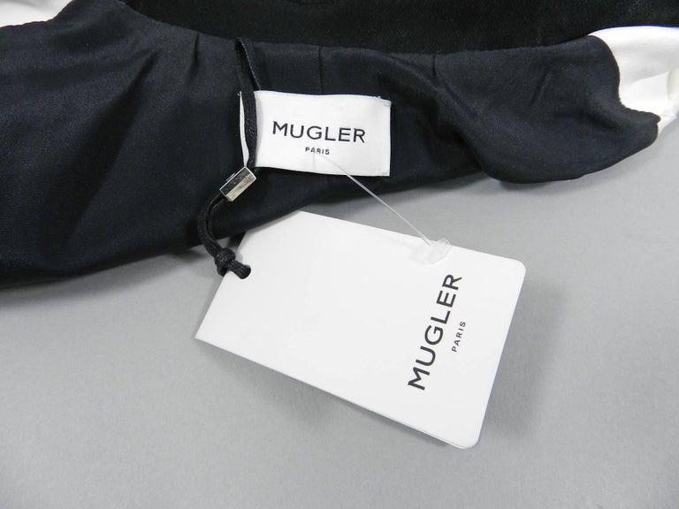 Mugler Resort 2017 Black White Silver Metallic Leather Color Block Jacket For Sale 1