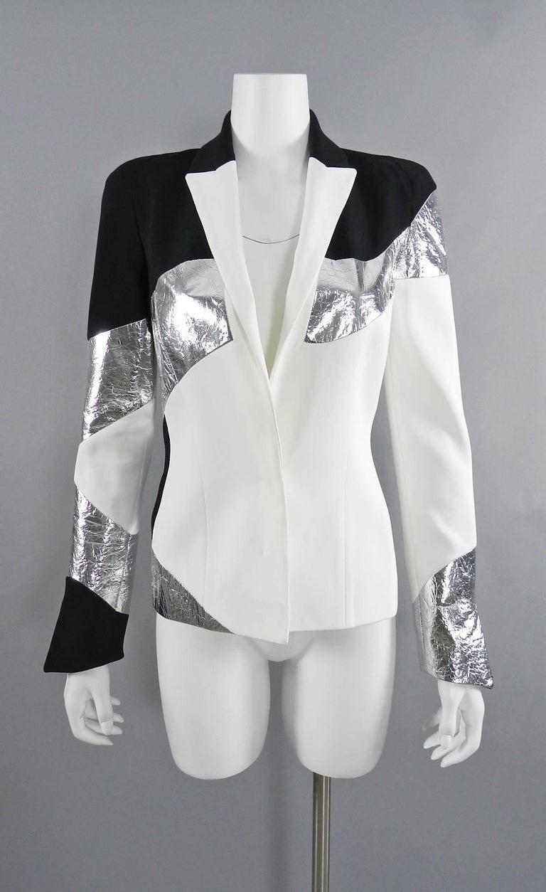 Mugler Resort 2017 Black White Silver Metallic Leather Color Block Jacket For Sale 3