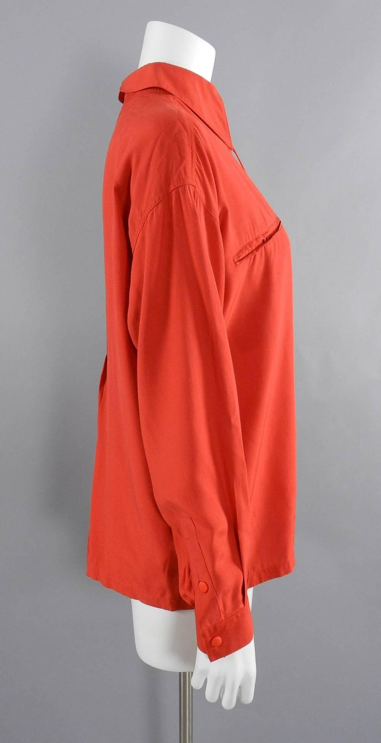 Claude Montana 1980's Orange Shirt with String Collar In Excellent Condition For Sale In Toronto, CA