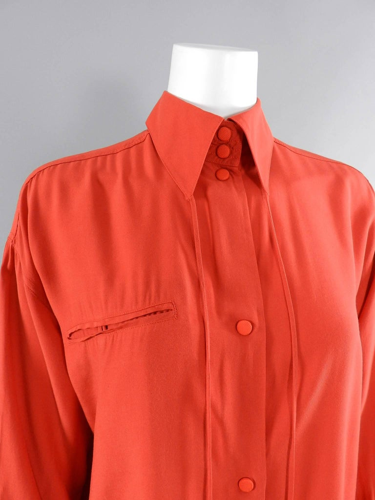 Women's Claude Montana 1980's Orange Shirt with String Collar For Sale
