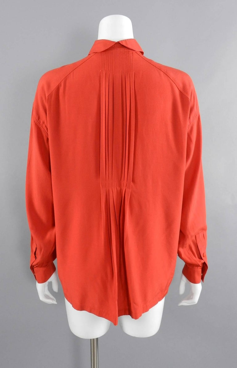 Red Claude Montana 1980's Orange Shirt with String Collar For Sale