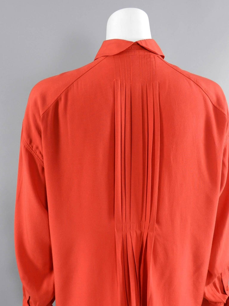 Claude Montana 1980's Orange Shirt with String Collar For Sale 1