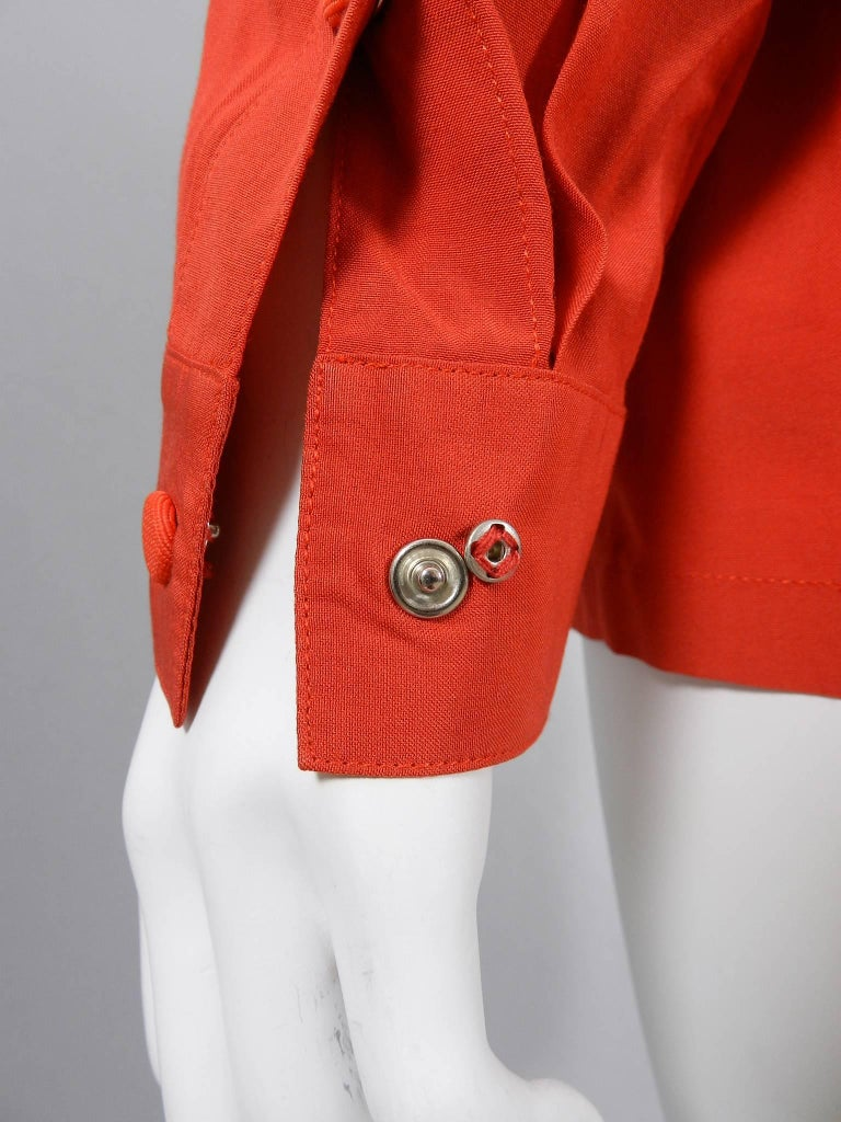 Claude Montana 1980's Orange Shirt with String Collar For Sale 2