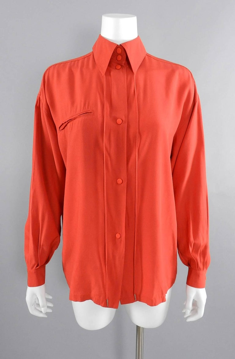 Claude Montana 1980's Orange Shirt with String Collar For Sale 3