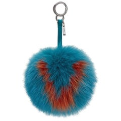 Fendi Turquoise and Orange Letter V Fox Fur Bag Charm - Bag Bug
