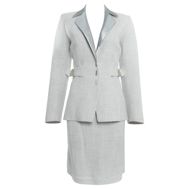 Thierry Mugler Couture Vintage Grey and Silver Linen Skirt Suit, 1990s