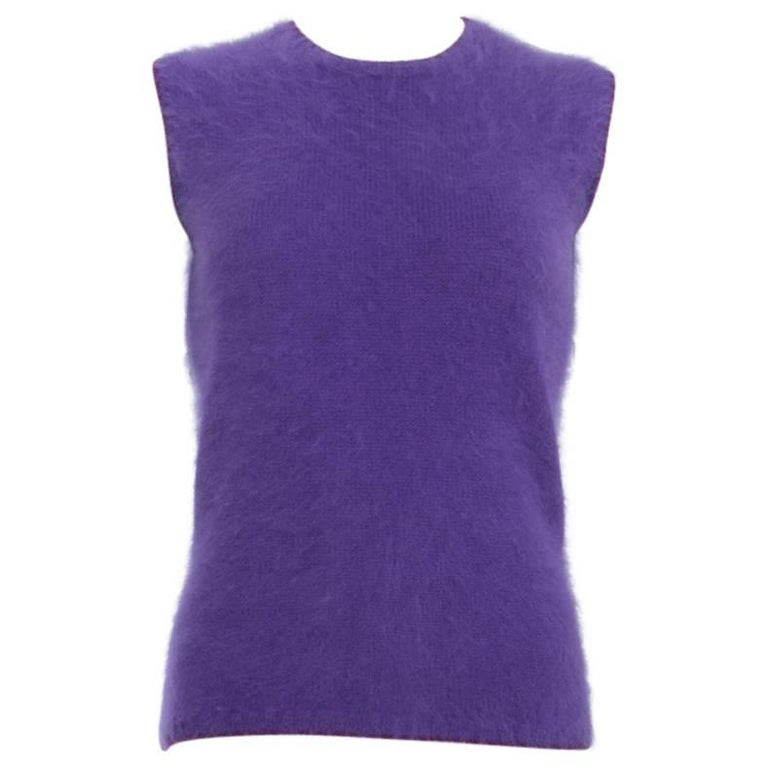 Vintage 1990's Gianni Versace Purple Angora Sleeveless Top