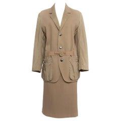 Issey Miyake Vintage 1980's Cotton/ Nylon Tan Skirt Suit