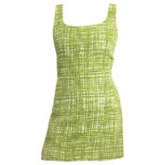 Prada Lime Green Tweed Sleeveless Dress