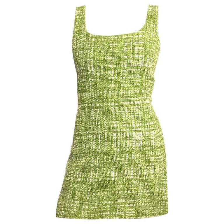 Prada Lime Green Tweed Sleeveless Dress