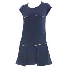 Stella McCartney Navy Sleeveless Dress with Silvertone Zippers - 6