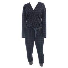 Brunello Cucinelli Navy Wool Check Jumpsuit with Grey Cuffs - M