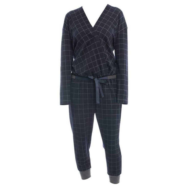 Brunello Cucinelli Navy Wool Check Jumpsuit with Grey Cuffs - M For Sale