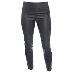 Brunello Cucinelli Charcoal Grey Stretch Lambskin Leggings - 6