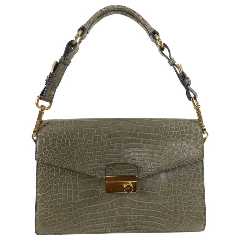 Prada Crocodile Sound Bag with Matte Gold Hardware
