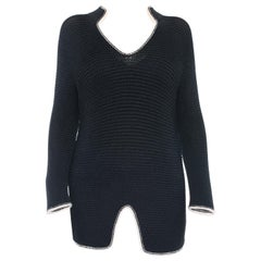 Chanel 08P Navy Knit Sweater Dress / Top with White Trim - 38