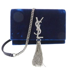 Saint Laurent Kate Tassel Blue Velvet and Rhinestone Crossbody Bag