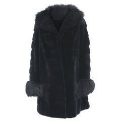 Holt Renfrew Black Sheared Mink and Fox Fur Trim Coat - 12