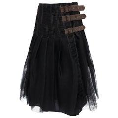 Junya Watanabe Comme des Garcons Black Tulle Mesh Skirt - L