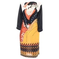 Dries Van Noten Silk Printed Japanese Dress with Satin Sleeves - 6