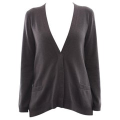 Brunello Cucinelli Taupe Cardigan with Bead Shoulder Trim – M