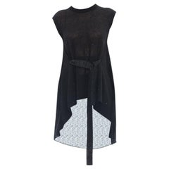 Brunello Cucinelli Black Sleeveless Knit Top with Ribbon Belt – M