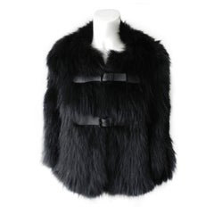 J. Mendel Black Fur Cape Jacket with Leather Buckles