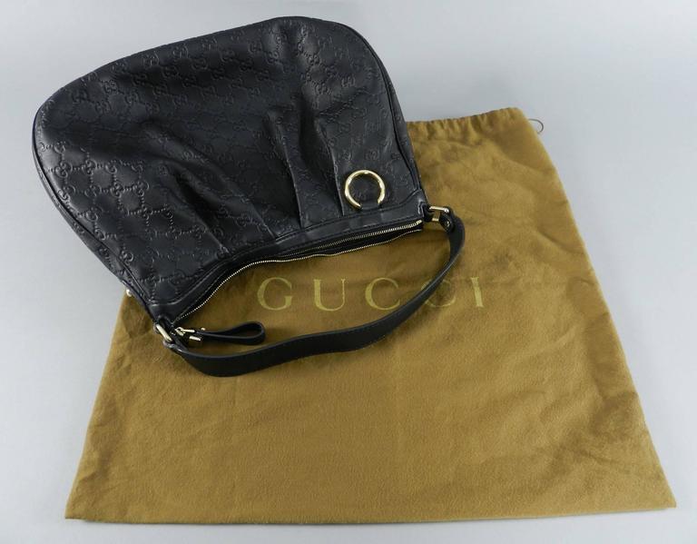 8f64cb48377 GUCCI Guccissima SUKEY Black Leather Hobo Bag   Purse In Excellent  Condition For Sale In Toronto