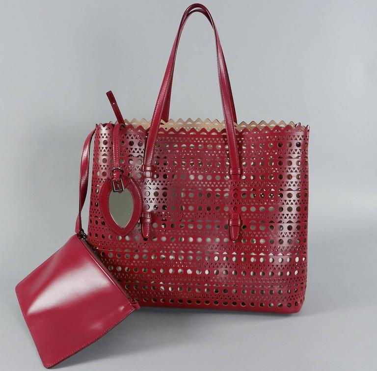 Alaia Burgundy Red Laser Cut Large Tote Bag At 1stdibs