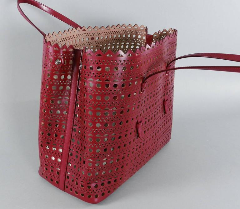 Alaia Burgundy Red Laser Cut Large Tote Bag At 1stdibs