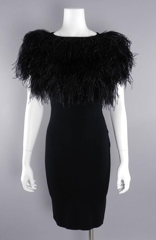 Giambattista Valli Black Ostrich Feather Trim Dress 7