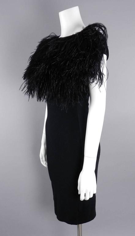 Giambattista Valli Black Ostrich Feather Trim Dress In Excellent Condition For Sale In Toronto, ON