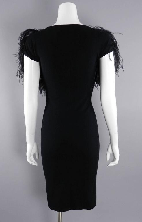 Women's Giambattista Valli Black Ostrich Feather Trim Dress For Sale