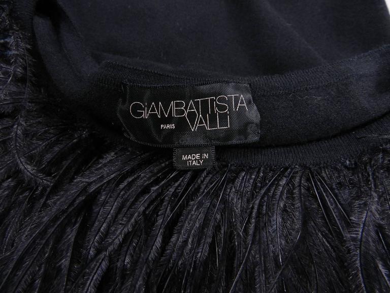 Giambattista Valli Black Ostrich Feather Trim Dress For Sale 1