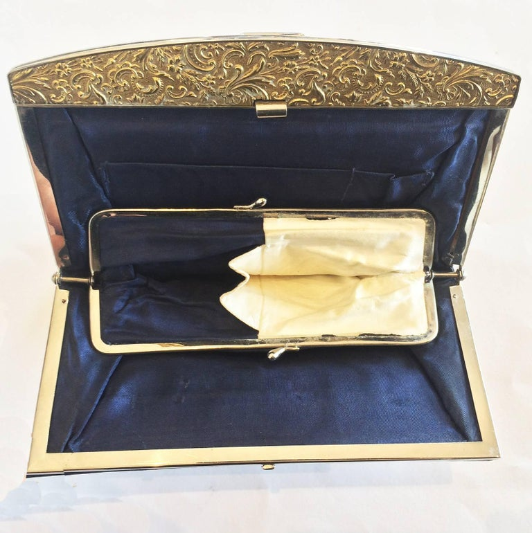 Art Deco French Navy blue leather clutch purse handbag with Gilt clasp 3