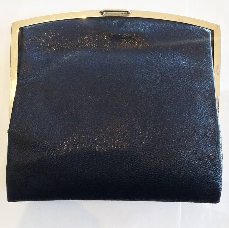 Art Deco French Navy blue leather clutch purse handbag with Gilt clasp 4