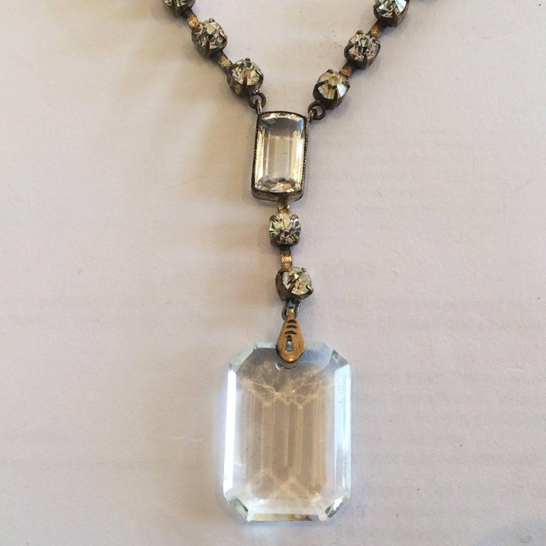 art deco facetted crystal drop necklace for sale at 1stdibs