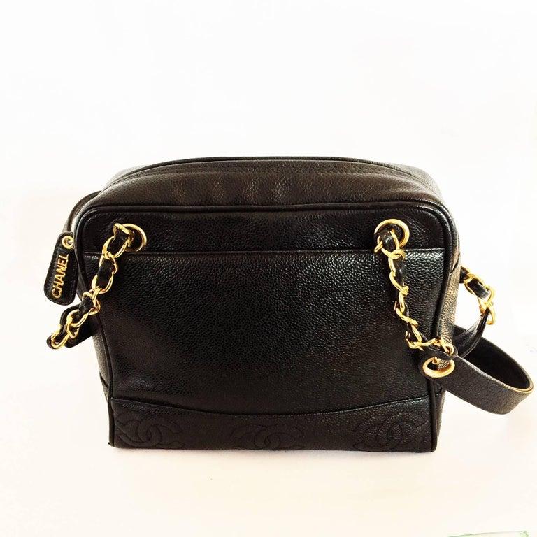 Chanel black caviar leather crossbody bag handbag For Sale 1