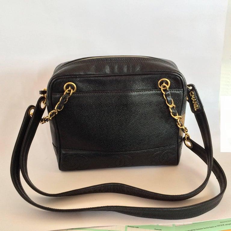 Chanel black caviar leather crossbody bag handbag For Sale 5
